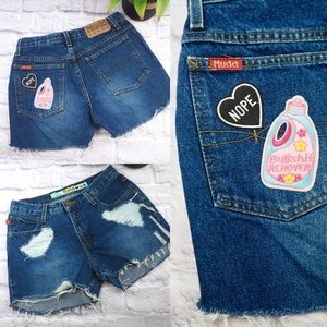 VINTAGE HIGH WAISTED Festival Patch Shorts